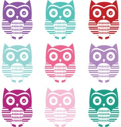 Cute owl silhouette collections vector