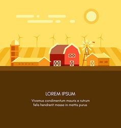 Farm barn grain field windmills and sunrise vector image