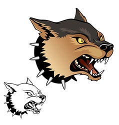 agressive dog head vector image vector image