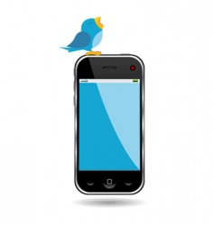 bird and cell phone vector image