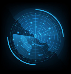 blue radar screen with map vector image
