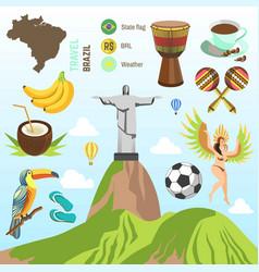 brazil travel famous brazilian sightseeing vector image vector image
