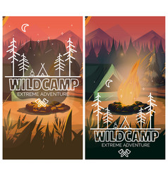 camping vertical background poster with with tent vector image vector image