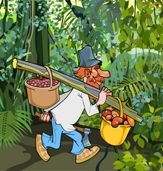 cartoon rustic lumberjack with an ax goes through vector image vector image
