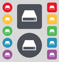 CD-ROM icon sign A set of 12 colored buttons Flat vector image