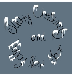 christmas text under the snow vector image vector image