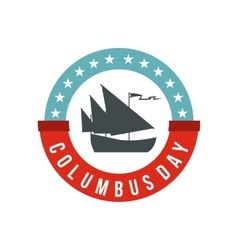 Columbus Day badge icon flat style vector image vector image