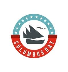 Columbus Day badge icon flat style vector image