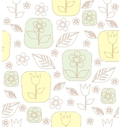 Contour tulip flowers and leaves vector image vector image