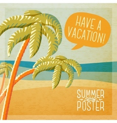 Cute summer poster - beach with palms and ocean vector image vector image