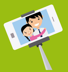 Dad and daughter become a selfie vector