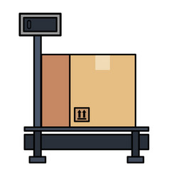 delivery service scale with box vector image