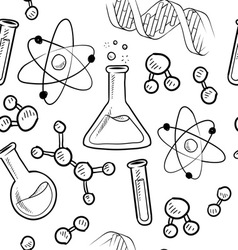 doodle science pattern seamless vector image vector image