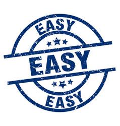 Easy blue round grunge stamp vector