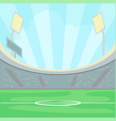 empty stadium with a green grass in the day time vector image