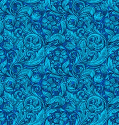 Floral blue ornamental seamless pattern vector image vector image
