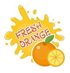Fresh orange splash icon logo sticker fruit vector