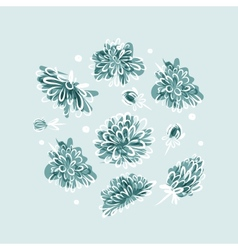 Frozen flowers background for your design vector image