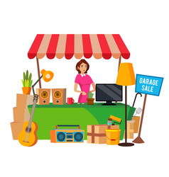 Garage sale assorted household items flat vector