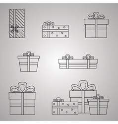 Gift boxes line presents vector