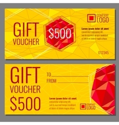Gift voucher template with modern colorful vector