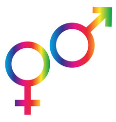 Gradient rainbow male female symbols vector