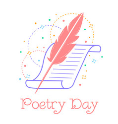 Greeting card world poetry day vector