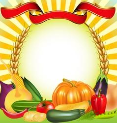 Harvest vegetables frame vector