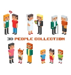 Isometric family couples children kids people vector image
