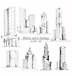 Modern sketch building vector