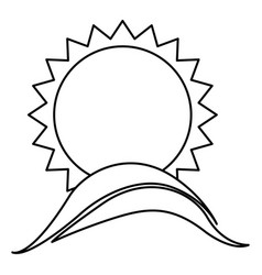 Monochrome contour with sun over hill vector