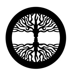Opposite man face in human concept tree symbol vector