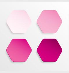 Paper banner pink mockup hexagon vector
