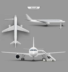 realistic aircraft airplane mockup set vector image