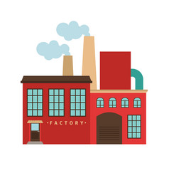 red factory building icon vector image vector image