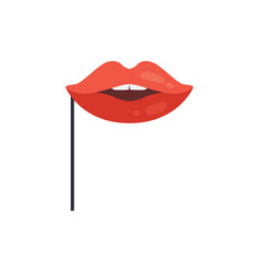 Red lips mask on stick masquerade decorative vector