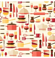 Seamless pattern with restaurant and kitchen vector image vector image