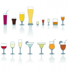 set of cold drink glasses vector image vector image