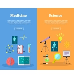 Set of scientific web banners in flat style vector