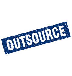 Square grunge blue outsource stamp vector