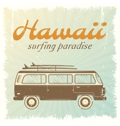 Surfing car poster vector