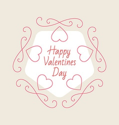 Valentines Day Elegant card with hearts and design vector image