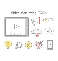 Video marketing icons isolated on white vector