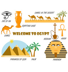 Welcome to egypt symbols of egypt set of icons vector