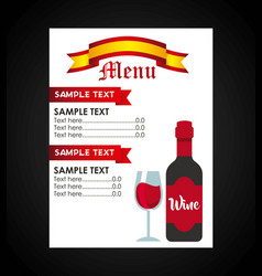 Wine drink beverage menu vector