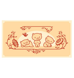 Woodland animals set three teddy bears vector