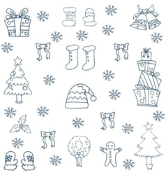Flat hand draw christmas object in doodle vector