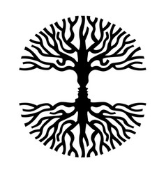 men faces in tree silhouette optic art symbol vector image