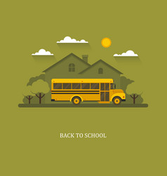 School bus with suburban house on a background vector