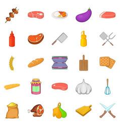 kebabs icons set cartoon style vector image